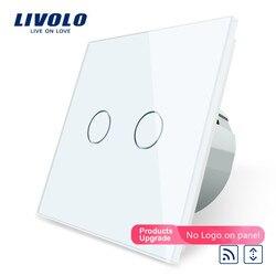 Livolo Eu Standard Touch Led Remote Gordijnen Schakelaar, Ac 220 ~ 250 V, White Crystal Glass Panel, c702WR-1/2/3/5, Geen Afstandsbediening