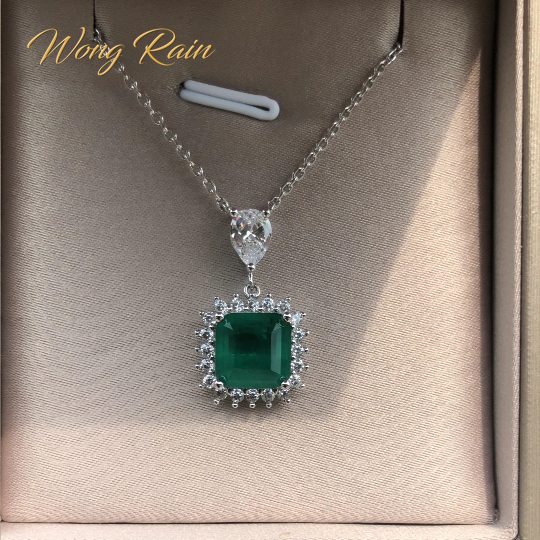 Wong Rain Vintage 100% 925 Sterling Silver Emerald Gemstone Diamonds Pendant Necklace Cocktail Party Fine Jewelry Gift Wholesale