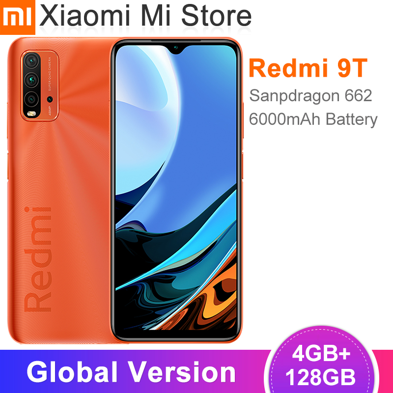 Глобальная версия Xiaomi Redmi 9T смартфон 4GB RAM 128GB ROM Snapdragon 662 48MP Quad камера заднего вида 6,53 ''ЖК Дисплей 6000 мАч батарея