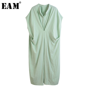 [EAM] Women Green Pleated Split Long Big Size Dress New Stand Collar Sleeveless Loose Fit Fashion Tide Spring Autumn 2020 1T095