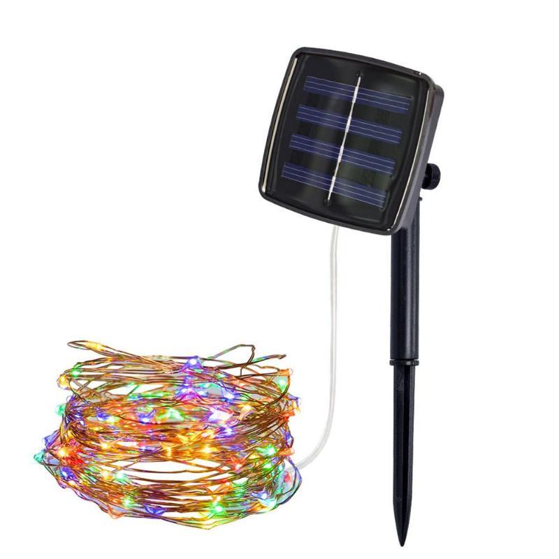Işıklar ve Aydınlatma'ten Güneş Lambaları'de 100/200 LED güneş bakır tel peri dize lambası modeli 8 kişilik yüksek yapılandırma açık bahçe dekoratif ışık title=