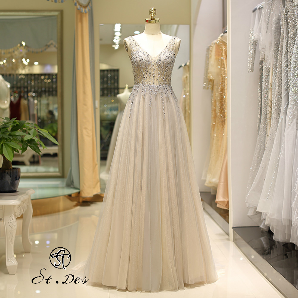NEW 2020 St.Des A-line V-Neck  Sleeveless Russian Champagne Gray Beading Sleeveless Floor Length Evening Dress Party Dress