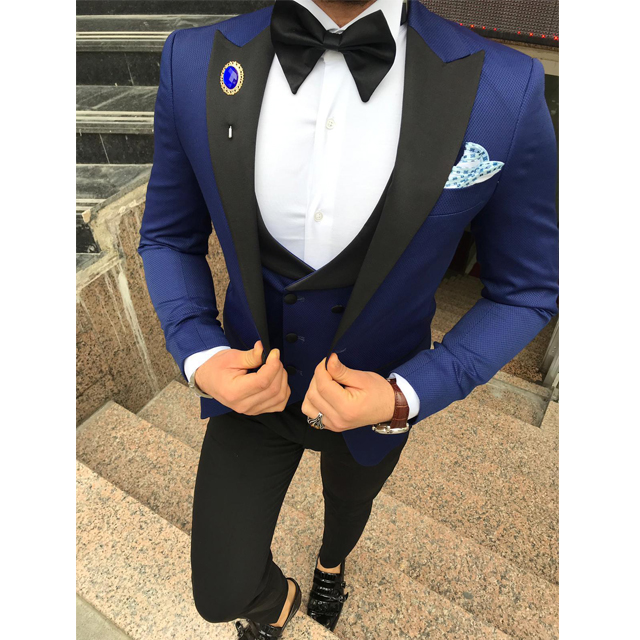 Handsome Groomsmen Wool Blend Groom Tuxedos Mens Wedding Dress Man Jacket Blazer Prom Dinner (Jacket+Pants+Tie+Vest) A180