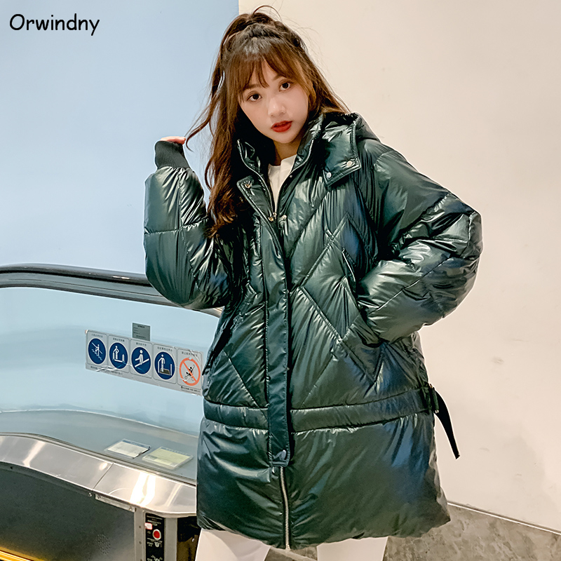 Orwindny Winter Jacket Women Waterproof Female Jacket Thick Warm   Parkas   Glossy Cotton Padded Long Clothing Lady Overcoat Hooded