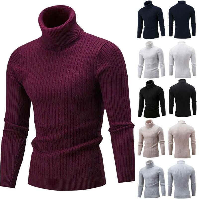 Mens Long Sleeve Thermal Slim High Collar Turtle Neck Sweater Winter Warm Jumper Fashion Sweater Knit Sweater
