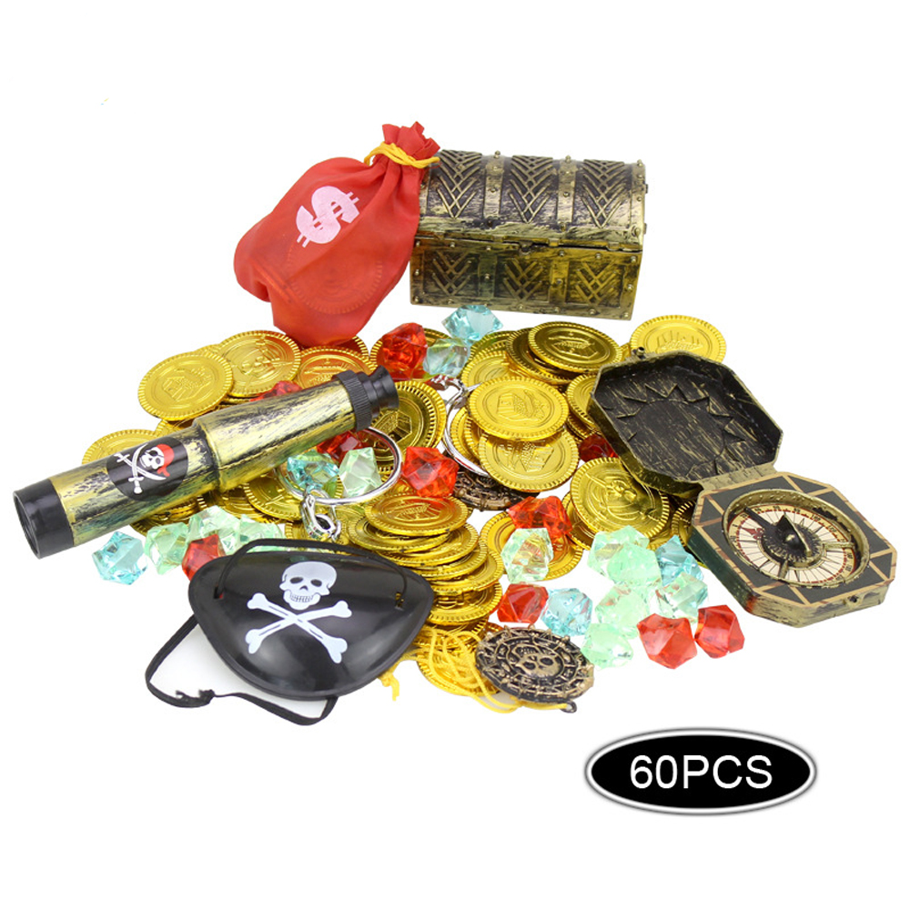 60Pcs Pirates Costume Props Toys Set Kids Party Supply Pirate Eyeshade Cover Gold Coins Pirate Gems Jewelry Treasure Box Toys