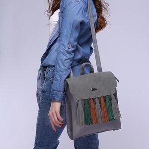 Image 5 - Toposhine Fashion Tassel Hit Color Square Girls Backpack Scrub PU Leather Women Backpack Fashion School Bags 1617