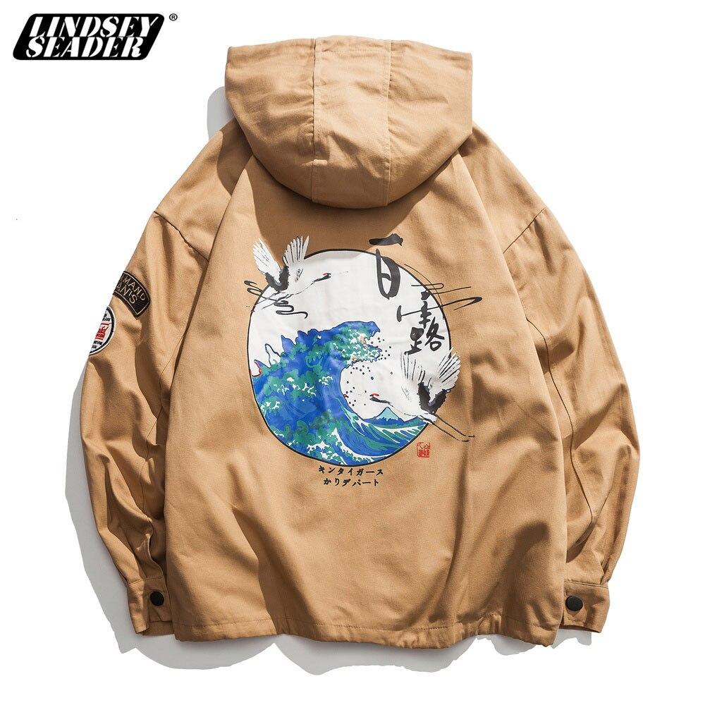 Lindsey Seader Men Hip Hop Jacket Windbreaker Streetwear Retro Harajuku Chinese Culture Coat 2019 Pocket Zip Track Jacket Hoodie