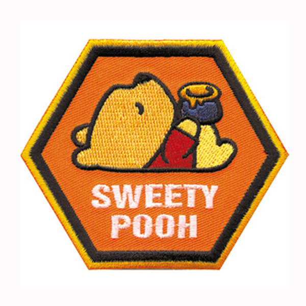 Cartoon Patch Embroidery Sweety Pooh Patch Heat Cut Iron-on Backing 2.5 Inch Customized Design Is Welcome For Us