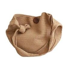 BEAU-модная шерстяная плетеная вязаная сумка, плетеная круглая винтажная сумка через плечо, ручные сумки, Пляжная дорожная сумка, сумка-тоут, женские сумки