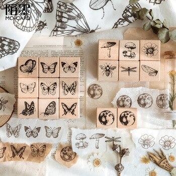 JIANWU-sellos de la serie herbario de bosque Vintage, sellos creativos de plantas, mariposas, planetas, sellos para álbum de recortes, suministros de decoración artesanal, 1 ud.