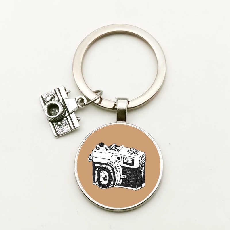 Nuevo llavero redondo convexo de cristal para cámara Retro, llavero de colgante modelo a la moda, fotos, regalo, bonito bolso con abalorio de recuerdo para hombre y mujer