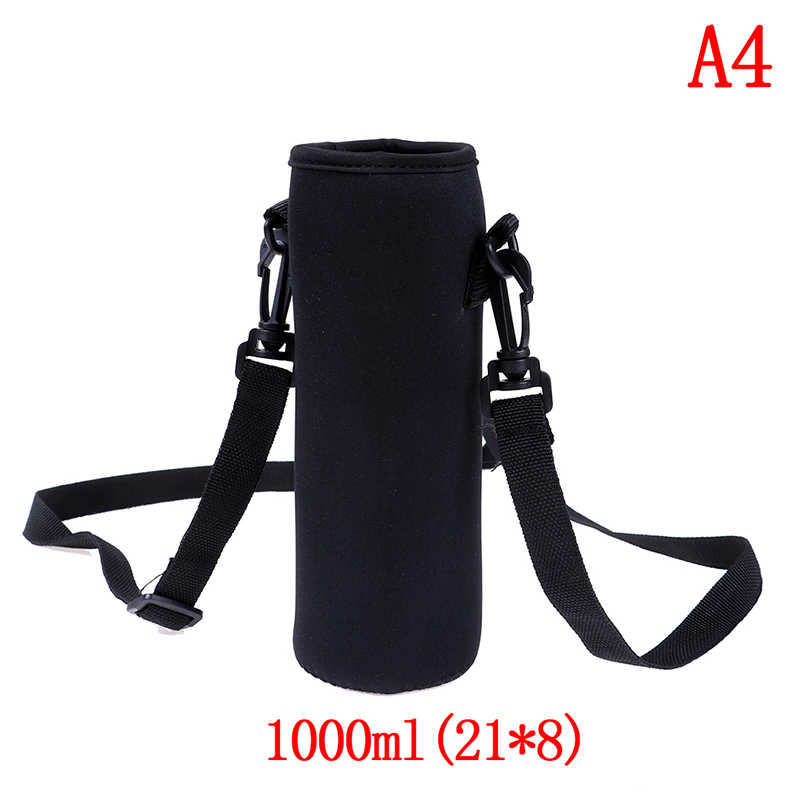 420-1500ML Water Fles Cover Bag Pouch w/Strap Neopreen Water Pouch Houder Schouderriem Zwart Fles carrier Isolerende Tas
