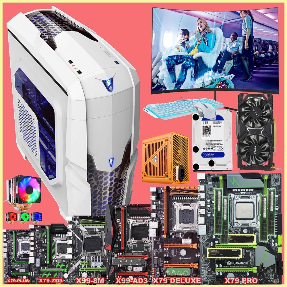 Full Set Of Computer HUANANZHI Runing X79/X99 Motherboard 500G SSD 1650V2/2670V2 RAM 64G(4*16G) 500W PSU GTX1060 6G 22' Monitor