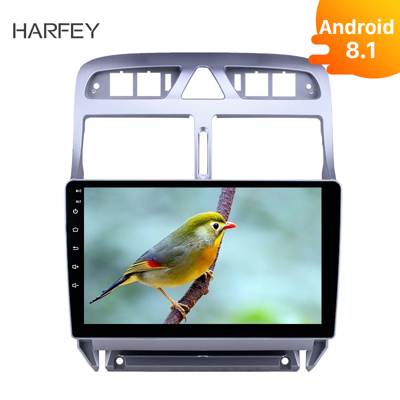 Harfey <font><b>2Din</b></font> Ultra Thin Car Multimedia Player 9Inch GPS Navi Android 8.1 <font><b>for</b></font> <font><b>Peugeot</b></font> <font><b>307</b></font> 2007 2008 2009 2010 2012 2013 With WIFI image