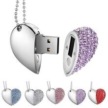 Флеш-накопитель 128 ГБ, Кристальный флеш-накопитель с сердечком, usb флеш-накопитель, 32 ГБ памяти, usb 2,0, металлический подарок на любовь, usb флешка, 4 ГБ, 8 ГБ, 16 ГБ, 64 ГБ