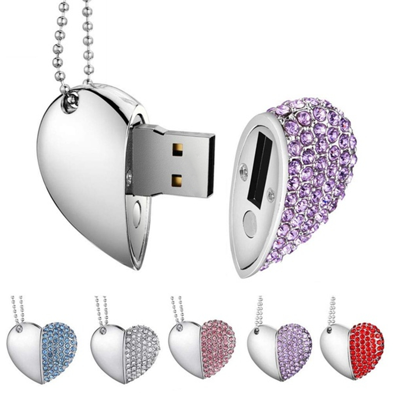 New Pendrive 128gb Crystal Pen Drive Love Heart Usb Flash Drive 32gb Memory Usb 2.0 Metal Love Gift Usb Stick 4gb 8gb 16gb 64gb