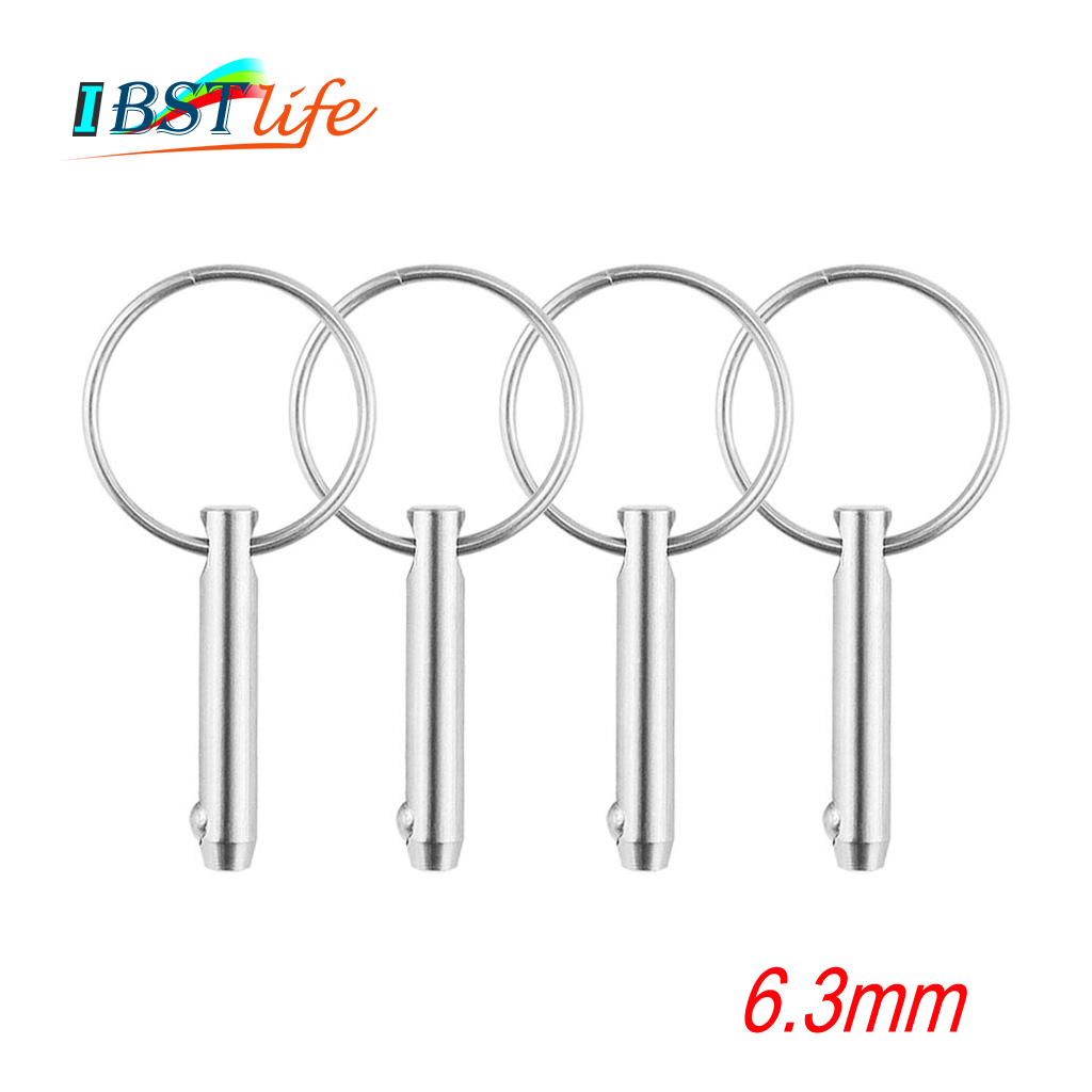 4PCS 6.3mm Marine Grade 1/4 inch Quick Release Ball Pin for Boat Bimini Top Deck Hinge Marine Stainless Steel 316 Boat