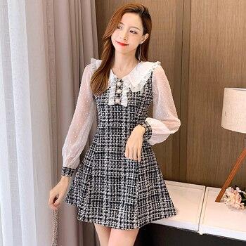 COIGARSAM Women Korean dress Long Sleeve New Patchwork Dresses Black Light Green 1090 1