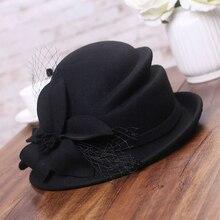 Chapéu de inverno feminino, chapéu estilo gatsby com flor de lã quente, chapéu de festa para mulheres, boné de inverno 1920 fedoras assimétricas