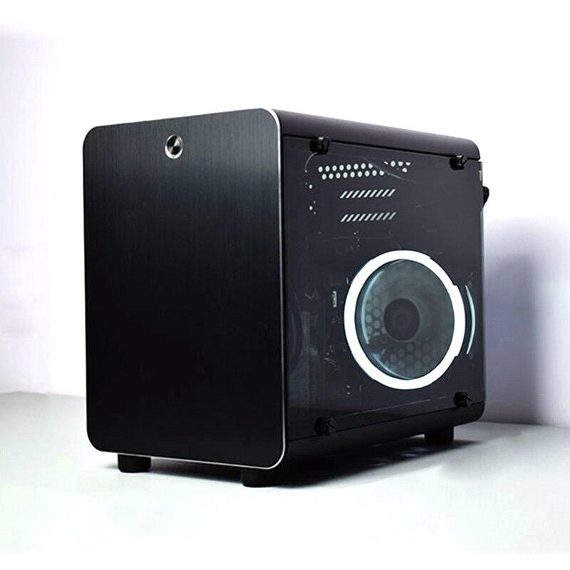 PC coffre-fort armoire Gamer boîtier de refroidissement ordinateur petit Mini Air châssis pour cartes mères ITX Vertical ATX tout aluminium cadre