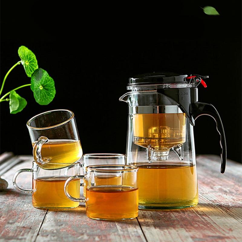 Heat Resistant Glass Tea Pot Chinese Kung Fu Tea Set Puer Tea Set Coffee Glass Maker Convenient Office Teapot High Quality
