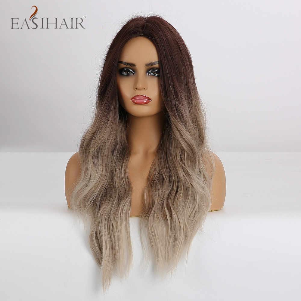 EASIHAIR, длинные, волнистые, коричневые, блонд, Омбре, синтетические парики для женщин, средняя часть, термостойкие парики для женщин, афро-американские