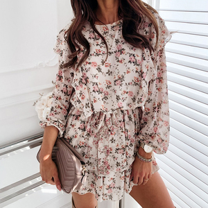 Autumn Boho Cascading Ruffle Floral Print Dress Women Casual Long Sleeve A Line Dress Sashes Female Elegant Mini Party Vestidos