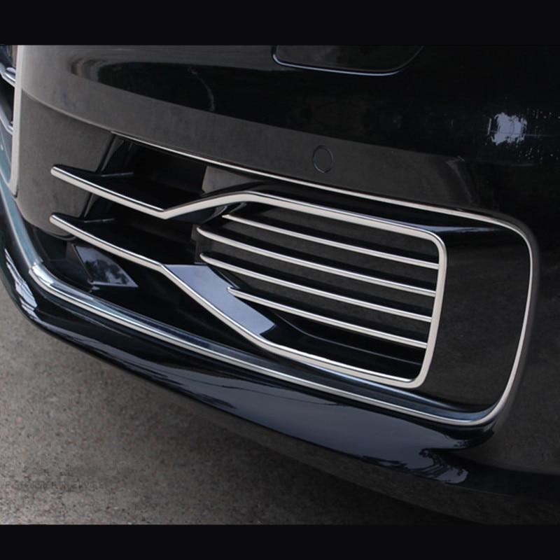 Otomobiller ve Motosikletler'ten Araba Çıkartmaları'de Araba ön sis lambaları çıkartmalar kapakları Audi A6 C7 ızgara kaburga Trim sis farları dekorasyon şeritleri dış oto aksesuarları title=