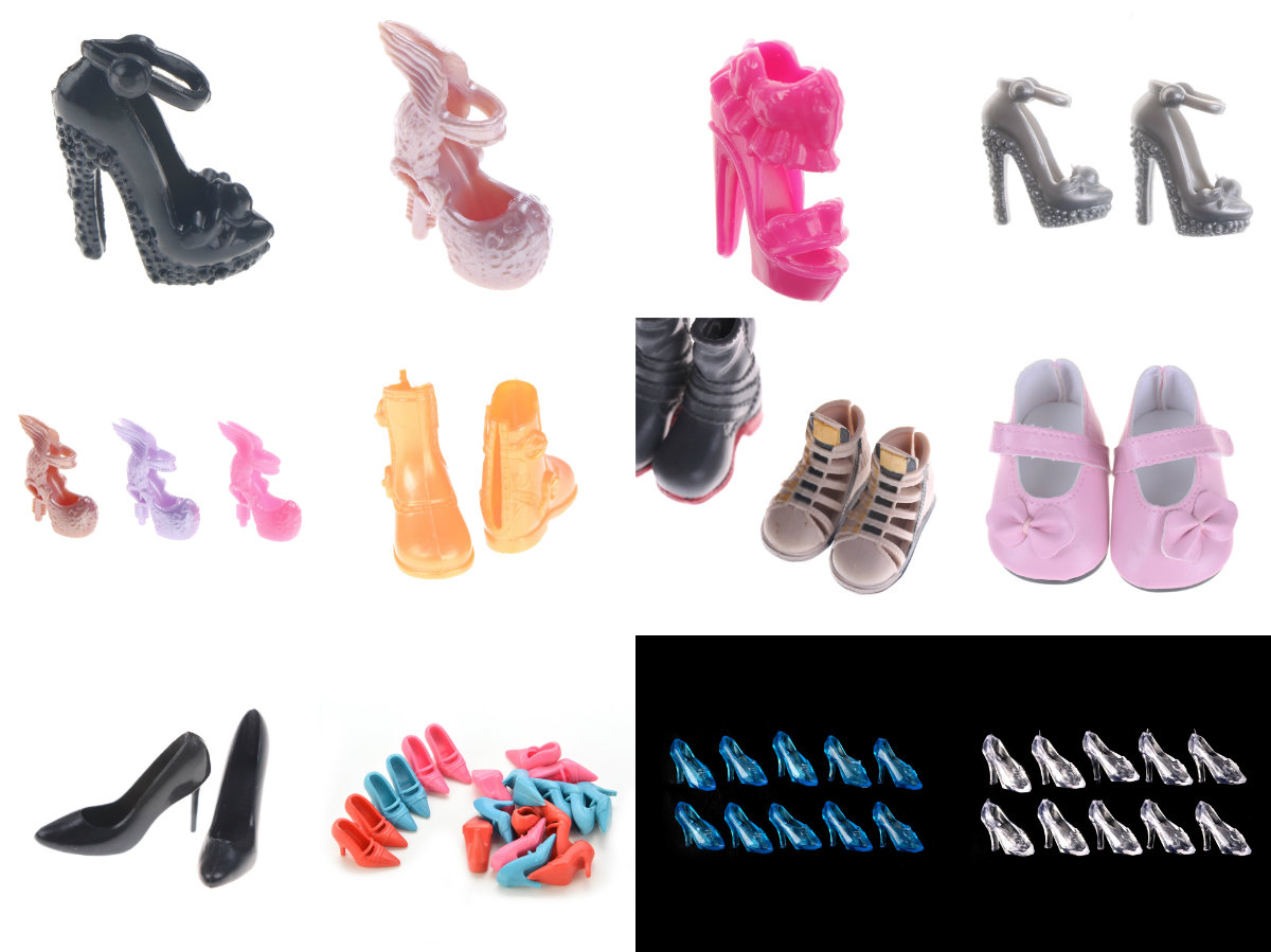 10 Pairs Of Beautiful Shoes High Heels Sandals Dollhouse Colorful Accessories For Barbie Kurhn Doll Kid Girl Toy