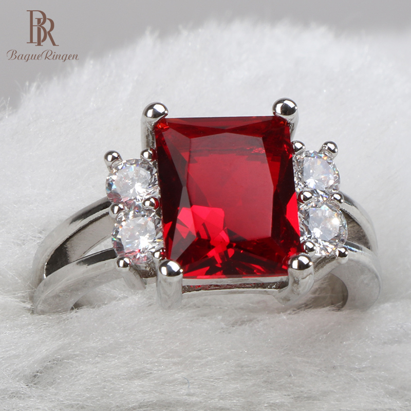 Bague Ringen Classic 925 sterling silver rings for women with square ruby gemstones women party wholesale gift size 6-10