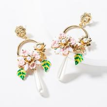 Vintage Baroque Style Resin Flowers Dangle Earrings For Women Fashion Jewelry Maxi Collection Accessories Wholesale