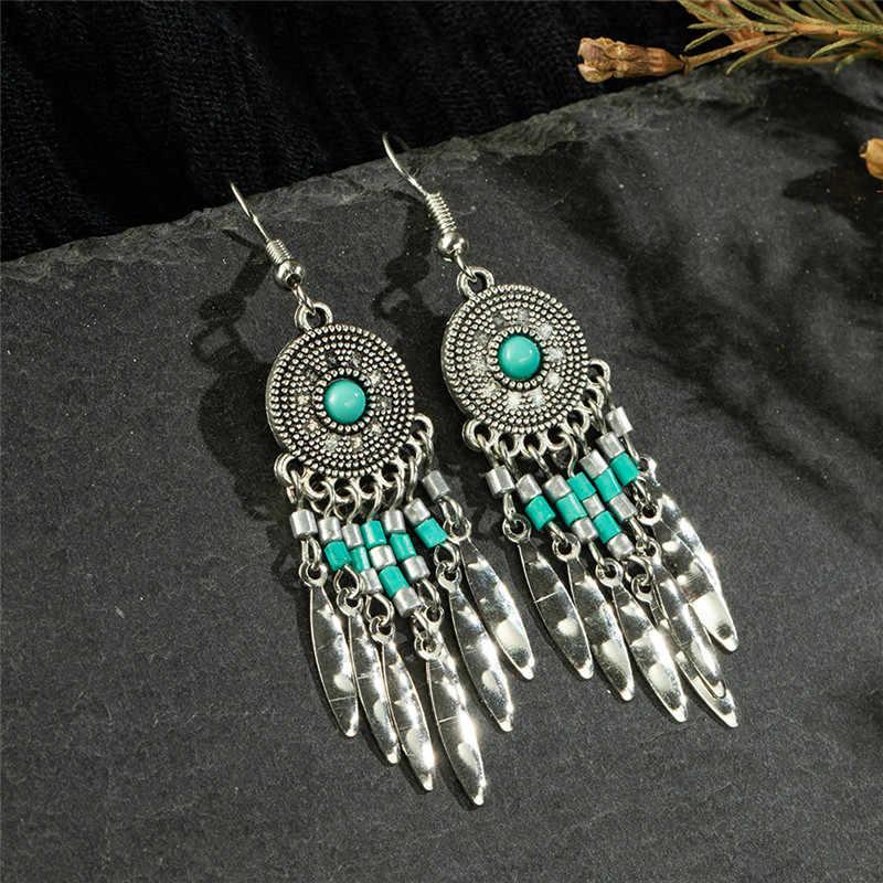 Vintage gland frange femmes boucles d'oreilles pour femmes acrylique noir géométrique goutte boucle d'oreille bohème déclaration bijoux Oorbellen Kolczyki