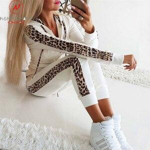 Image 2 - Women Autumn 2 Piece Outfits for Streetwear Leopard Patchwork Design Hoodies Decor Slim Zipper Top+Elastic Waist Pencil Pants