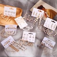 Femmes boucles d'oreilles ensemble gland perle boucles d'oreilles pour les femmes bohème mode bijoux 2020 géométrique kolczyki cerceau boucles d'oreilles