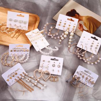 Zestaw kolczyków damskich Tassel kolczyki perłowe dla kobiet moda artystyczna biżuteria 2020 geometryczne kolczyki kolczyki w kształcie obręczy tanie i dobre opinie zhenshecai Ze stopu cynku Ze stopów żelaza TRENDY Jewelry Sets Spadek kolczyki Kobiety Acrylic Metal Pearl Cubic Zirconia