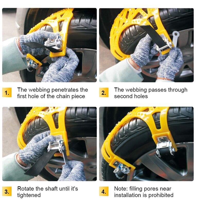 Цепь для снега 7 Упаковка для GM противоскользящая аварийная Регулируемая цепь для шин, подходит для внедорожников, бегущих по льду и снежным... - 6