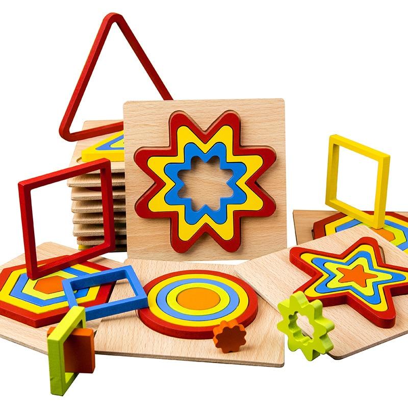 DIY Creative Montessori 3D Wooden Puzzle Intelligence Development Children Educational Toys Geometric Shape Puzzle Kids Baby
