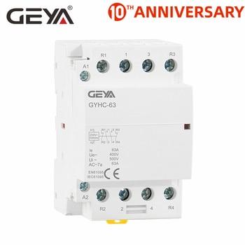 Free Shipping GEYA 4P 63A 4NO or 2NC2NO 220V/230V 50/60HZ Din Rail Household AC Modular Contactor