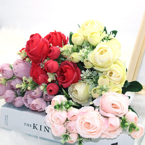 The new 1 bunch of 13 artificial peony tea roses camellia silk fake flower floral art can be used for DIY home garden wedding de