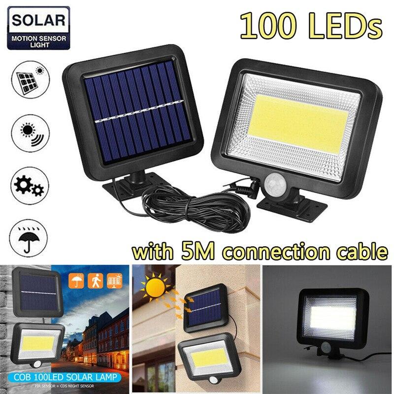 100 leds luzes solares lâmpada de parede cob luz rua movido a energia solar holofotes pir sensor movimento ao ar livre luz do jardim energia solar ip65