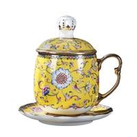 Enamel Tea Mug with Saucer Lid Set Noble Coffee Mugs Ceramic Porcelain Teacup 400ml Gold Handle Water Cups Drinkware Collection