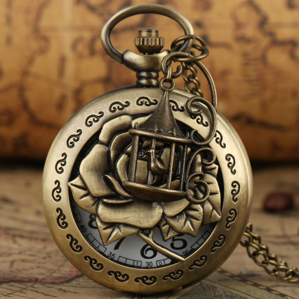 Antique Bronze Quartz Pocket Watch Necklace Chain With Birdcage Accessory Pendant Watches Half Hunter Steampunk Clock Nice Gifts