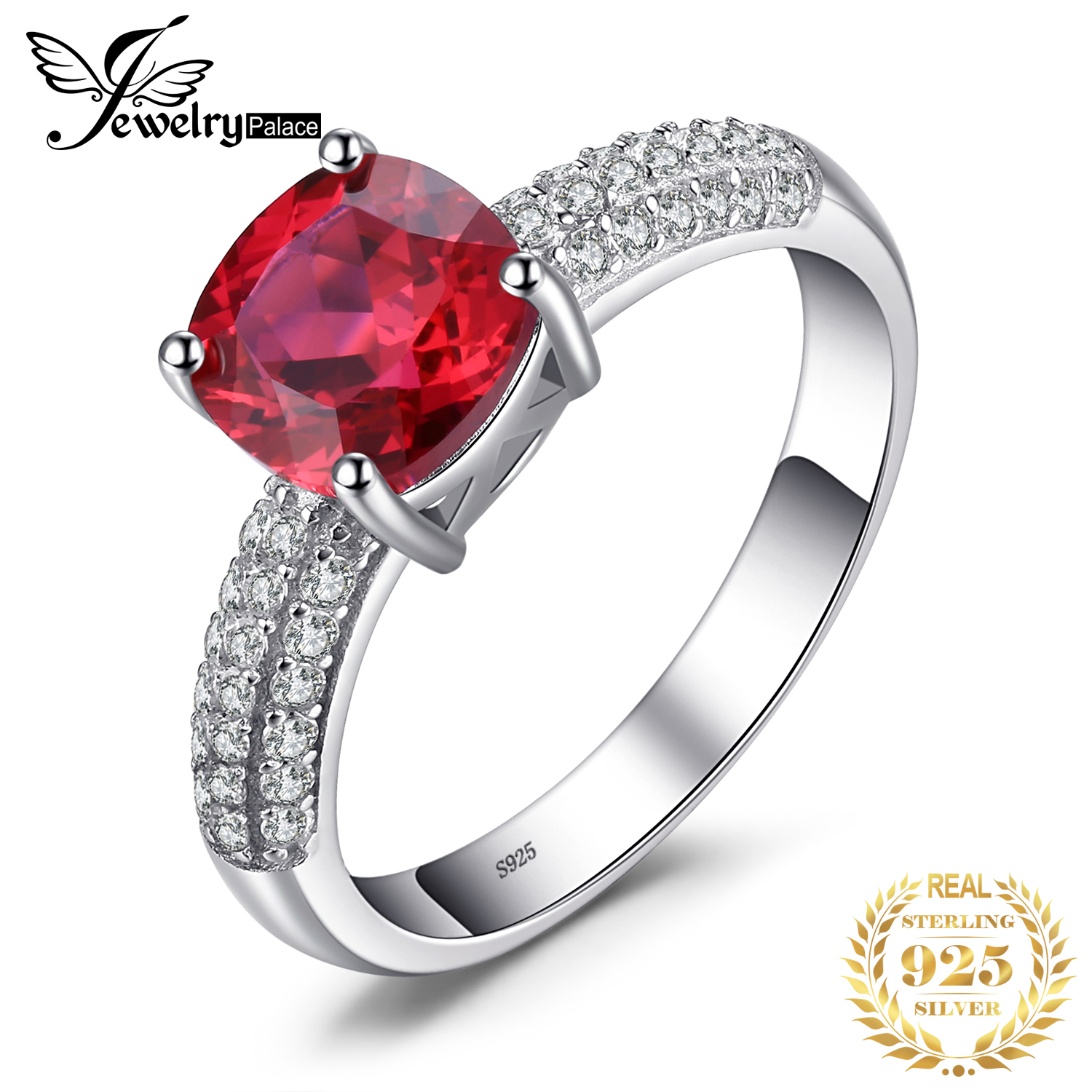 JewelryPalace Cushion Created Red Ruby Ring 925 Sterling Silver Rings For Women Engagement Ring Silver 925 Gemstones Jewelry