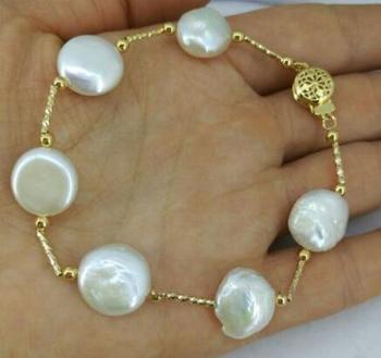 free shipping >noble jewelry Nature 13-14mm white Baroque south sea pearl bracelet 7.5-8 inch 14K clasp