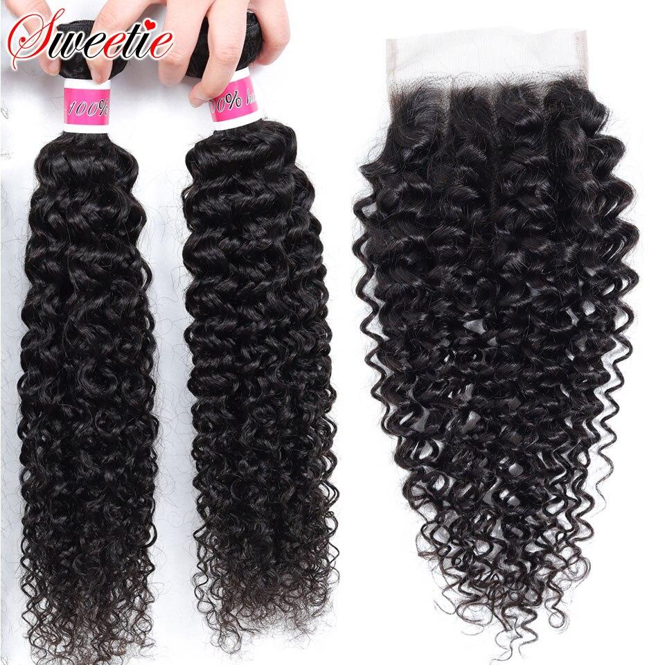 Tissage en lot brésilien Non Remy crépus-bouclé | Cheveux naturels, avec Lace Closure, lot de 3