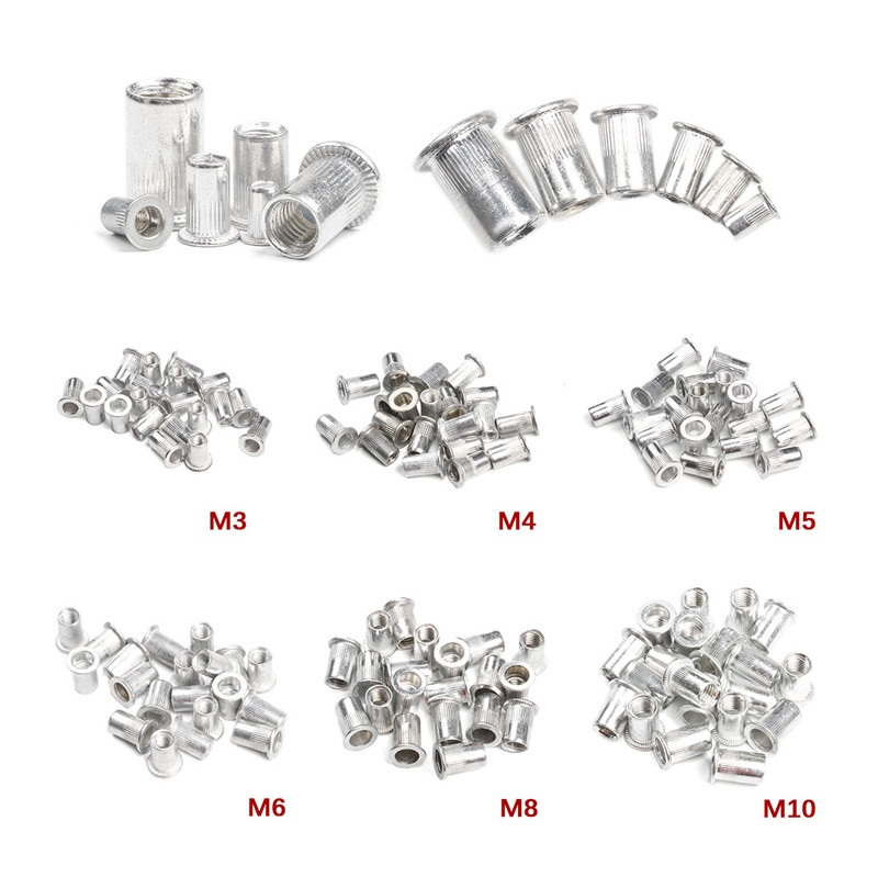 50PCS M3 M4 M6 M8 M10 Aluminum Alloy Rivet Nuts Flat Head Rivet Nuts Set Nuts Insert Riveting Set