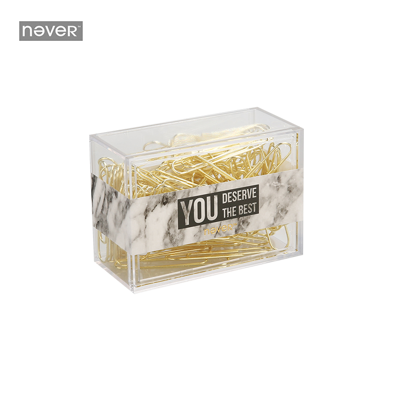 JIANWU/Marble Style Metallic Color Paper Clip Mild Luxury Fashion Business Office Lady Style Office Stationery Set 28mm 50mm
