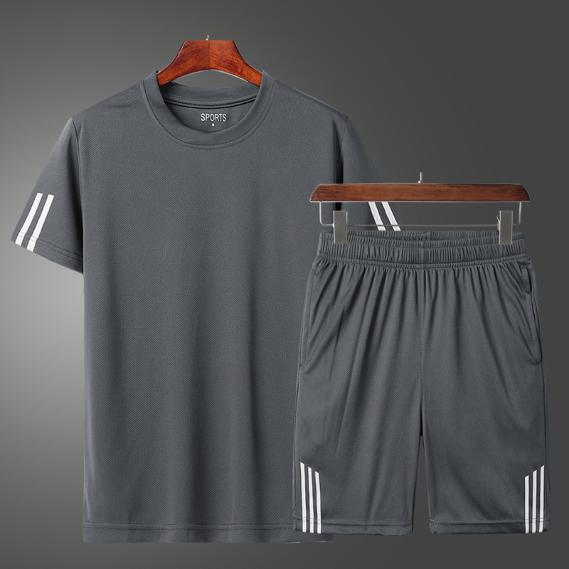Men's 2020 Summer Sports Shorts+Short Sleeve Breathable Running Fitness Clothes 2-piece Jogging Training Sport Suit