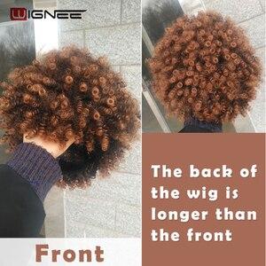 Image 5 - Wignee короткие волосы афро кудрявые вьющиеся термостойкие синтетические парики для женщин смешанный коричневый Косплей африканские прически повседневные волосы парик